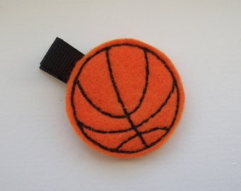 Girls Hair Accessories - Felt Hair Clips - Orange Felt Embroidered Basketball Hair Clippie - Hair Clip Hair Clippie - Basketball clippie