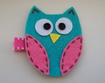 Girls Hair Accessories - Felt Hair Clips - Turquoise Felt Handmade Owl Hair Clippie - Hair Clip Hair Clippie - Turquoise Pink Owl