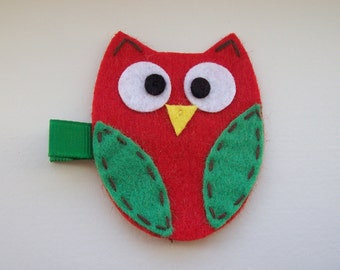 Girls Hair Accessories - Felt Hair Clips - Red Green Felt Handmade Owl Hair Clippie - Hair Clip Hair Clippie - Christmas Owl - Red Green