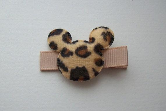 Girls Hair Accessories - Appliqué Hair Clips - Light Brown Leopard Mickey Mouse Puffy Hair Clippies - Disney - Hair Clips Hair Clippies