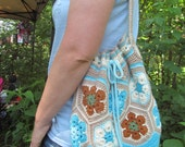 African Flower crochet bag/purse, fully lined