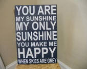 Navy blue and white nursery sign...You are my sunshine...U CHOOSE the Colors to Match babys DECoR:)