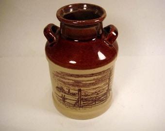 Brown Drip  Milk Jug Crock - Vintage Farm Ranch Scene - Stoneware