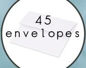"45 ENVELOPES Size A7 5.25"" by 7.25"" White Announcement Envelopes"