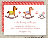 GIRL BABY SHOWER Invitations Rocking Horse Digital diy Printable Personalized - 96890366