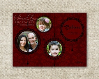 Believe Ornaments Christmas Family Picture Customizable Printable Digital HOLIDAY Greeting