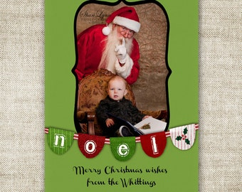 Noel Banner Christmas HOLIDAY Cards Traditional Holiday Greeting Family Picture Customizable Printable Digital