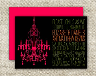 Chandelier BRIDAL SHOWER INVITATIONS In Pink And Black Custom Digital Printable Cards - 90576241