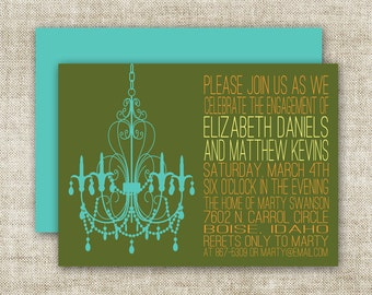 Chandelier BRIDAL SHOWER INVITATIONS In Blue and Green Custom Digital Printable Cards - 90576410