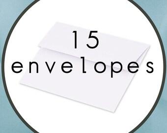 "15 ENVELOPES Size A7 5.25"" by 7.25"" White Announcement Envelopes"