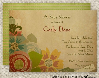 BABY SHOWER INVITATIONS Rustic Flower Bouquet Digital Printable Personalized -  81651582