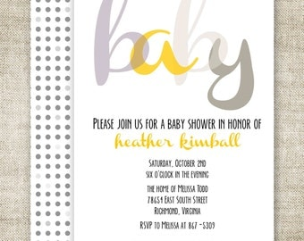 GENDER REVEAL PARTY Baby Shower Invitations Digital Printable Personalized Girl or Boy Yellow And Gray - 91070047