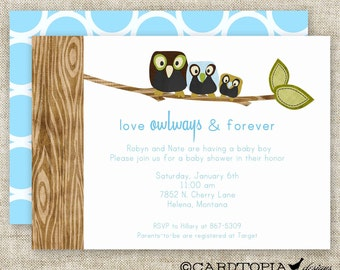 OWL BABY SHOWER Invitations Boy Couples Digital Printable Personalized Blue with owl family - 81436685