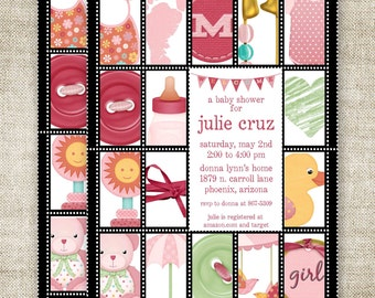 GIRL BABY SHOWER Invitations Postage Stamp Sheet  Digital Printable Personalized - 87956709