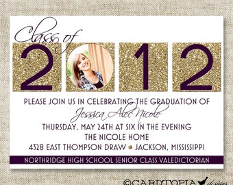 GRADUATION ANNOUNCEMENTS INVITATIONS - Personalize with your school's colors - 97715081