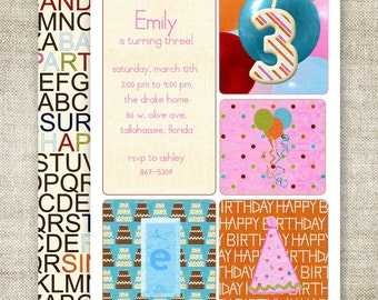 GIRL BIRTHDAY PARTY Invitations Digital Printable Cards Candle Balloons Party Hat - 81437639