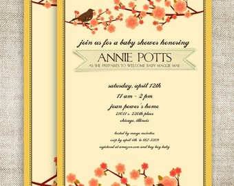 Birds and Blossoms GIRL BABY SHOWER Invitations Vintage Floral Digital diy Printable Personalized - 103042761
