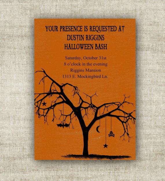 Halloween Invitation Party Digital Printable Cards Orange and