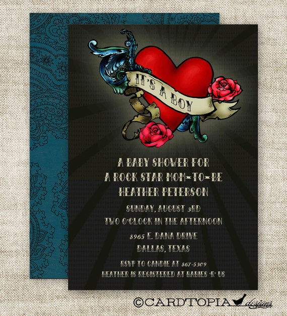 Boy baby shower invitations rock star mom tattoo glam digital for How to shower with a new tattoo