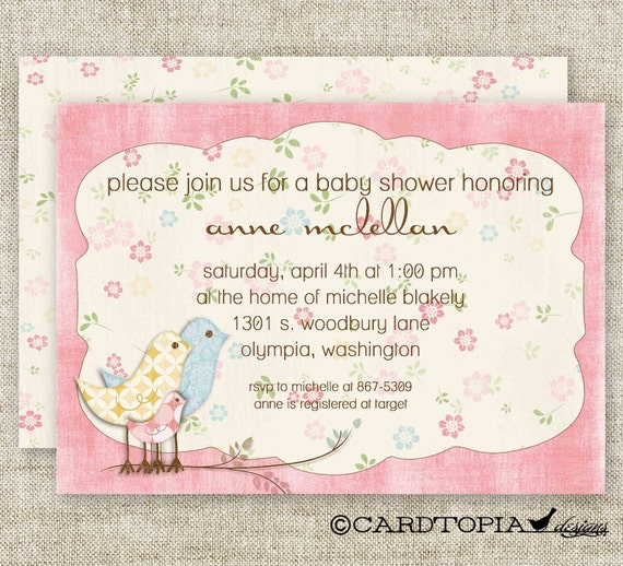 Shabby Chic GIRL BABY SHOWER Vintage Pink Invitations Digital diy Printable Personalized - 81444827