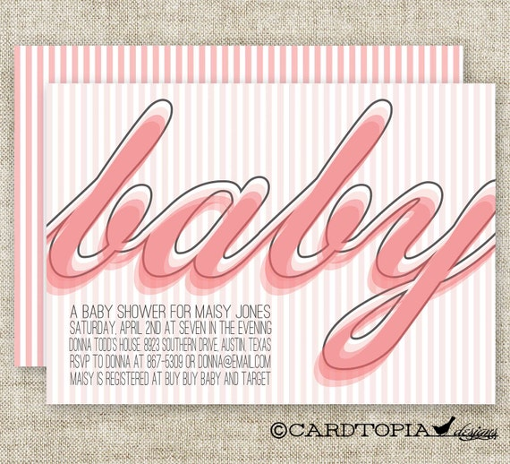 Retro GIRL BABY SHOWER Invitations Pink Stripes Digital diy Printable Personalized - 91836761