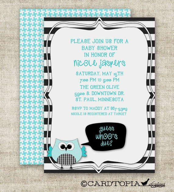 OWL BABY SHOWER Invitations Guess Who's Due Boy Digital Printable Personalized Blue - 89906261