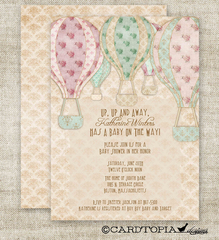 Hot Air BALLOON BABY SHOWER Invitations Custom diy Printable