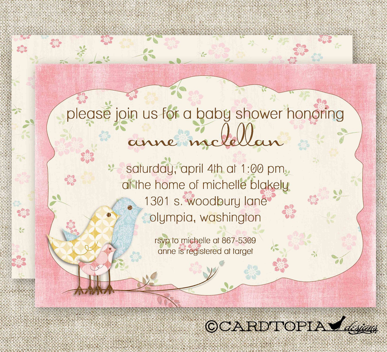 Shabby Chic Girl Baby Shower Vintage Pink Invitations Digital