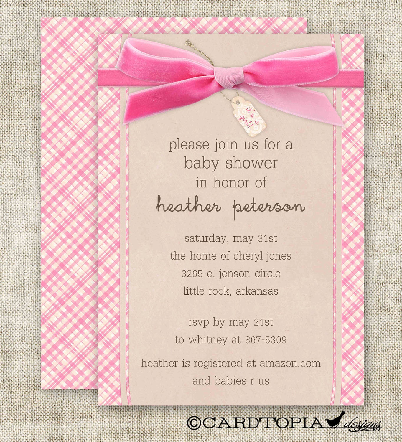 GIRL BABY SHOWER Invitations Plaid Bow It's A Girl Digital