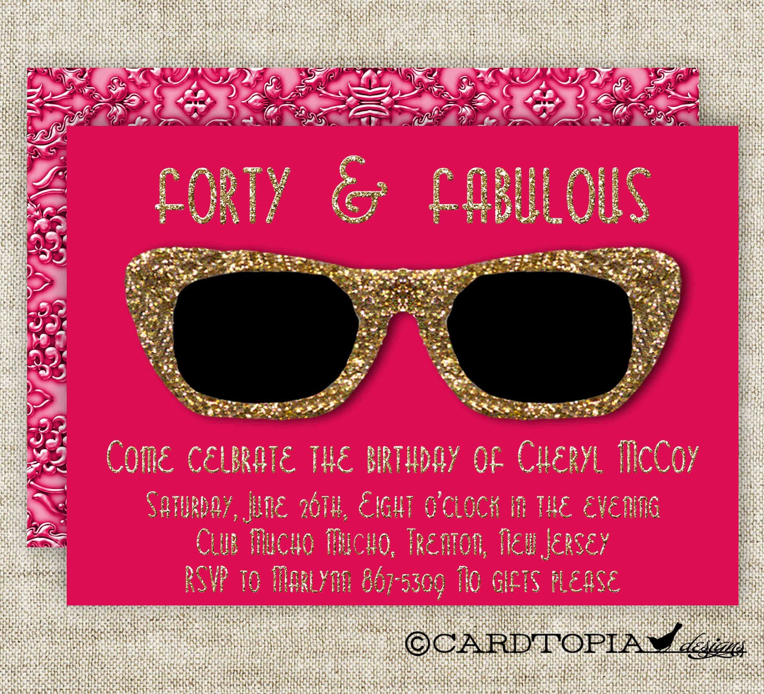 GOLDEN BIRTHDAY PARTY Invitations For Adult Woman Or Girl