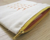 Hand-Printed Ombre Bunting Slouchy Zipper Pouch/Make-up Bag // Orange