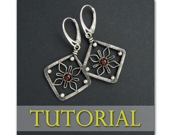 Flower Squares Earrings Wire Wrapping Jewelry Making Lesson Step by Step PDF Tutorial
