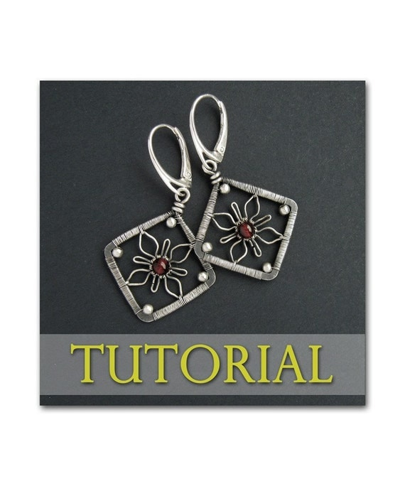 Flower squares earrings wire wrapping jewelry making lesson step by