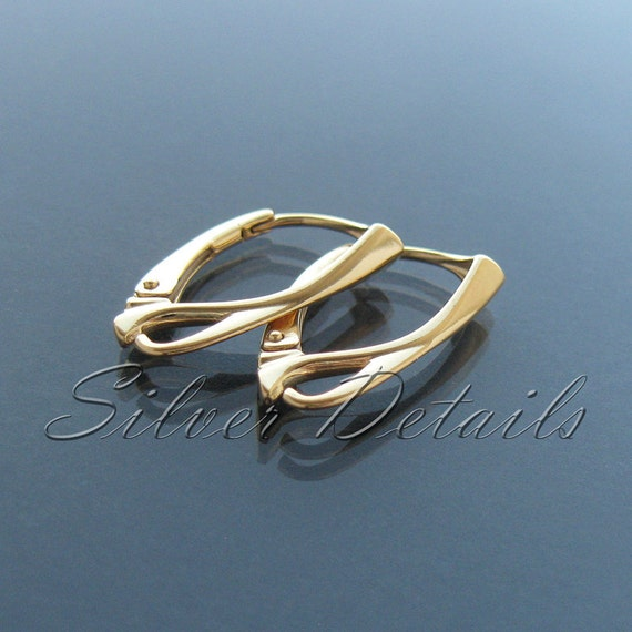 Top Quality 24k Gold Vermeil over Sterling Silver Leverbacks 925 model ES3 AU 1 pair