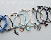 Custom Order - Stack of 10 nautical inspired bracelets