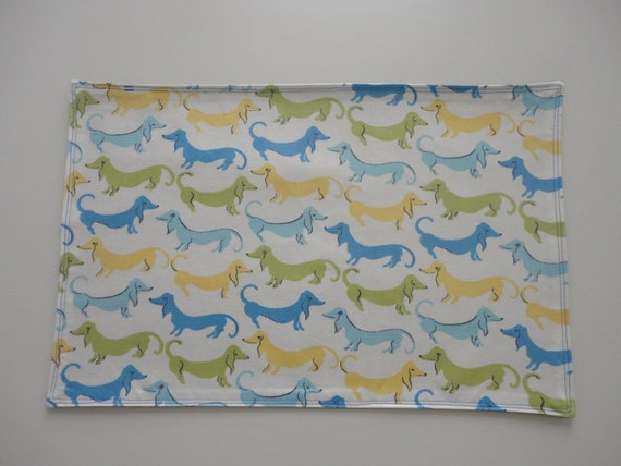 Blue doxie WATERPROOF food/ bowl placemat. free shipping