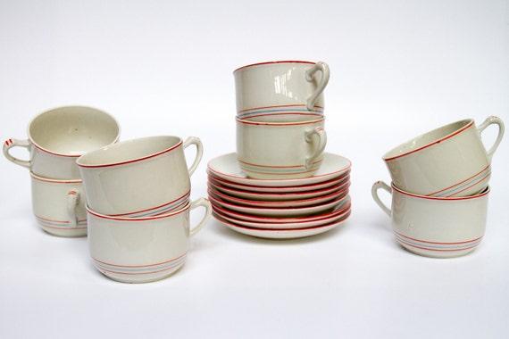 Vintage handmade teacups and saucers - set of eight