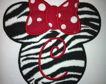 Girls Minnie Mouse Shirt (Zebra Print)