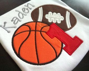 Football Basketball Birthday Shirt (1st Birthday or any age)