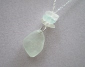 Aqua and Frosted White Sea Glass Stacker Necklace