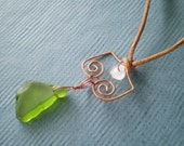 Emerald Sea Glass and Copper Leather Necklace