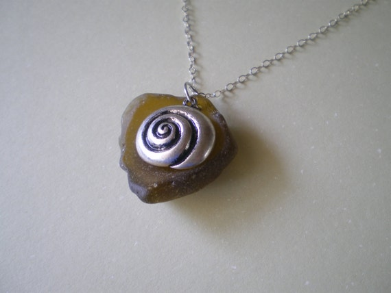 Olive Sea Glass and Shell Necklace