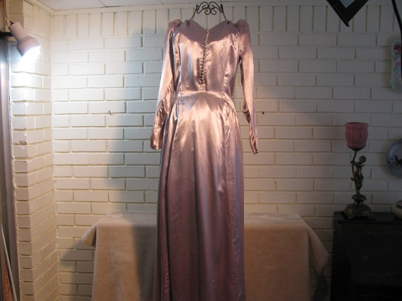 Vintage Blue Pink  Silver Satin Covered Button Evening Dress