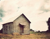 Amish Schoolhouse Photo Print Fine Art Vintage Look Americana Architecture Cloudy Fall Brown Gold Green Kentucky Tennessee