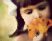 Little Girl Photo Print, Dreamy, Fine Art, Vintage look, Tiger Lily, Close up, Orange, Green