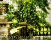 "Mansion Balcony Photography Print, Cheekwood Botanical Gardens, Nashville, TN, Distressed, Vintage Look, Stone, Trees, Brown, Green, 8x12"""