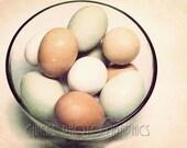 Eggs in Bowl Photo, Kitchen Art, Country Eggs, Vintage Look, Fine Art Print, Brown, Green, Blue, White, Bowl of Eggs, Dozen Eggs
