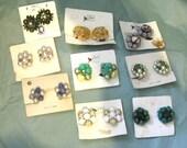 Vintage Old Stock Cluster Earings On Original Cards Coro Pegasus vintage jewelry costume jewelry lot destash upcycle