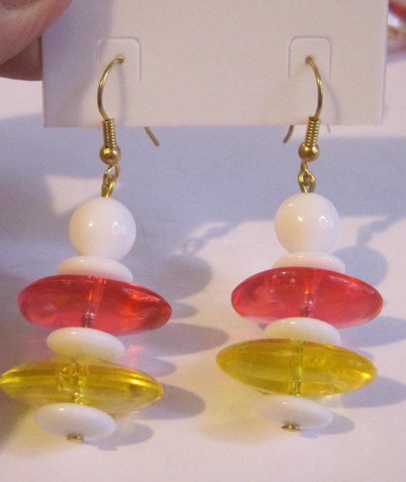 FUN Vintage Old Stock Mod Style Jelly Disc Lucite Earrings Popsicle Watermelon Lemon Yummy costume jewelry vintage earrings