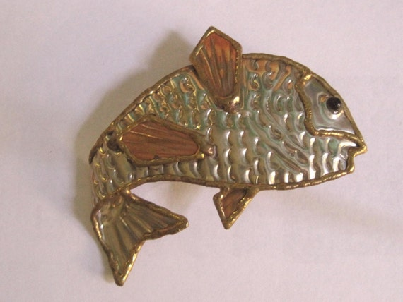 Vintage Artisan Copper and Brass GIANT Fish Pin costume jewelry pisces vintage jewelry vintage pin bass Father's Day Gift